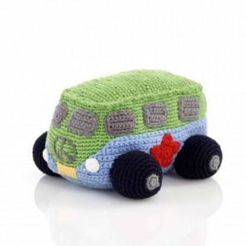 Blue Hippie Camper Van Fair Trade Knitted Baby Rattle