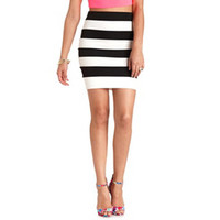 STRIPED HIGH-WAISTED PENCIL SKIRT