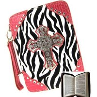 Beautiful Zebra Print Rhinestone Cross Bible Case Cover (pink)