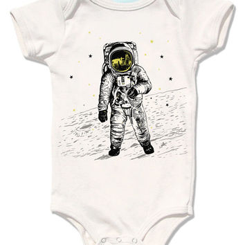 Astronaut Moon Bodysuit - space walk on the moon graphic with yellow gold metallic foil screenprint, organic rad gift for baby boy and girl