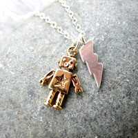 Robot Necklace Lightning Bolt Sterling Silver by pearlatplay