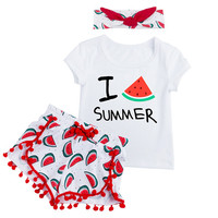 Little Baby Toddler Girls I Watermelon Summer 3 Pc Shirt, Shorts and Headband Set 12Mo to 4T