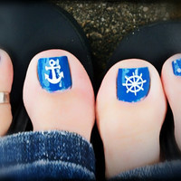 Nautical Anchor and Wheel toe nail decals set of 12