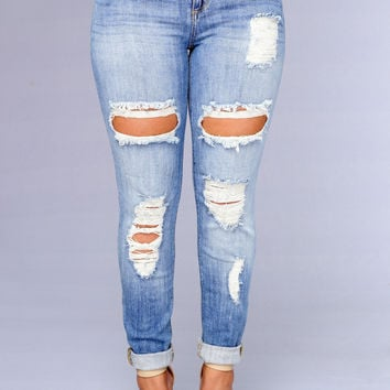 Clayton Boyfriend Jeans - Medium Light