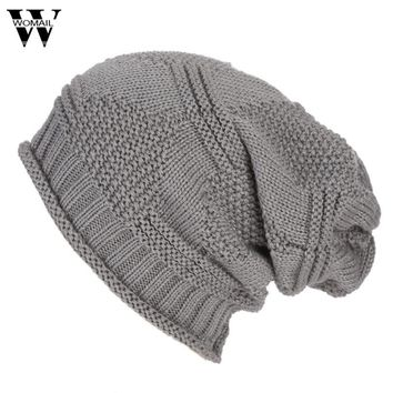 Men Women Baggy Warm Crochet Winter Wool Knit Ski Beanie Skull Slouchy Caps Hat