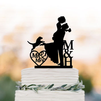 initial Wedding Cake topper with dog bride and groom silhouette Mr and mrs, personalized wedding cake topper letters,  unique cake topper