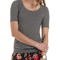 Embroidered Mesh-Back Ruched Tee by Charlotte Russe