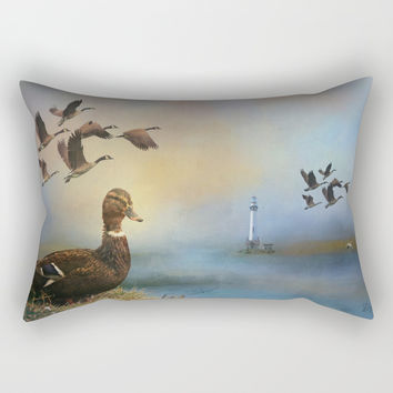 Lighthouse In Time Rectangular Pillow by Theresa Campbell D'August Art