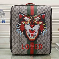 Gucci Women Fashion Leather Angry Cat Print School Bookbag Backpack