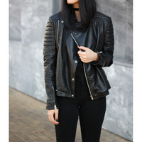 Women Black Brando Leather Jacket