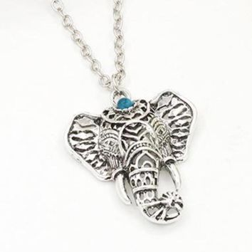 Women Boho Vintage Lucky Elephant Pendant Necklace