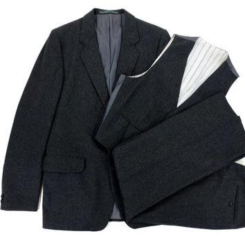 Three Piece Grey Flannel Suit by Cassidy London - Wool Dark Charcoal Ivy League Menswear - Men's Size 36 37 Small Medium