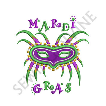 MARDI GRAS Mask Machine Embroidery Design 4x4 5x7 6x10 Instant DOWNLOAD