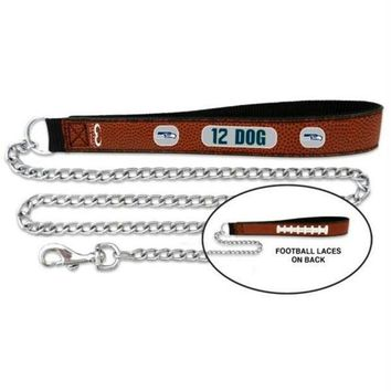 PEAP7N7 Seattle Seahawks 12th Dog Football Leather and Chain Leash