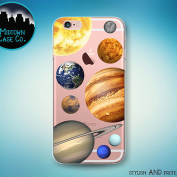 Solar System Sun Planets Mercury Venus Earth Mars Jupiter Saturn Uranus Neptune Clear Rubber Case for iPhone 7 7 Plus 6s 6 Plus 5s 5 5c SE