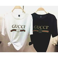 Gucci Hot Letters Print T-shirt Top Tee Loose Blouse