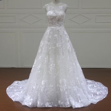 Vintage O-neck Lace Wedding Dresses Cap sleeves ivory A Line wedding Gown outdoor Wedding Dress