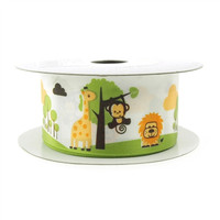 Baby Shower Satin Ribbon, 1-1/2-inch, 10-yard, Safari Animals White