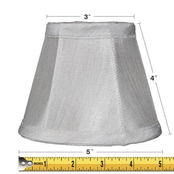 0-009677>3x5x4 Gray Stretch Clip-On Candlelabra Clip-On Lamp shade