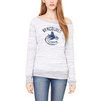 Vancouver Canucks Let Loose by RNL Women's Game Day Wide Neck Pullover Sweatshirt - Ash