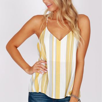 Printed V-Neck Tank Yellow