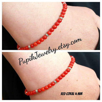 RED CORAL BRACELETS Men's Jewelry Custom Order Gemstone Bracelets Men's Beaded Bracelets Beaded 4mm Coral Bracelet Mens Bracelete