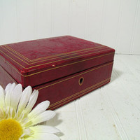 Antique Burgundy Red Leather Gold Tooling Trim Jewelry Box Made in Italy - Vintage Dark Red Velvet 2 Level 3 Piece Interior Display Case