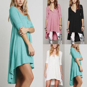 Womens V Neck Casual Loose 3/4 Sleeve Tops Shirt Tunic Dip Hem Dress
