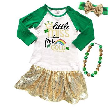 Little Miss Pot Of Gold Shirt Green Raglan