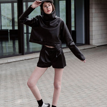 Black suit - Shorts And Top - White Suit - Two Part Suit - Futuristi Design  - Freindly Leather - Turtleneck