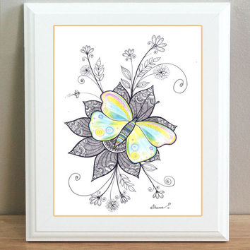 Colourful Butterfly  and Flowers, Black & White illustration, Original Modern Contemporary Drawing, Colored pencils and black ink