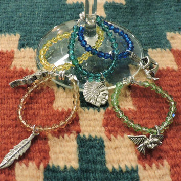 Indian Wine Markers, Magnetic, Indian Chief, Kokopelli, Salamander, Feather,Eagle, Pewter Charms, Swarovski, Southwest,