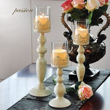 White Pillar Candlestick Glass Candelabra Set