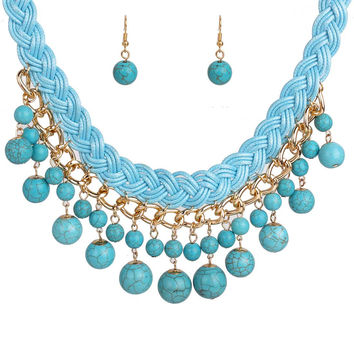 Bib Turquoise Drop Necklace