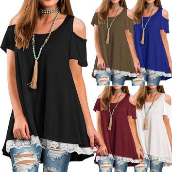Summer Women Round Neck Tee Chiffon Swing Lace Solid Color Off Shoulder Shirts Ladies Casual Tops Loose T-Shirt