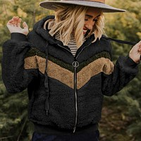 Pullover Drawstring Furry Patchwork Hoodie