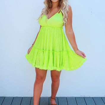 Restock: The Kelsey Dress: Chartreuse