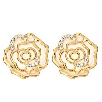 Clear Austrian Crystal Rose Flowers Stud Earrings in 14K Gold Plated