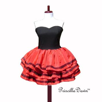 Strawberry Ruffle Party Red Prom Dress custom in your Size Full Layered Skirt