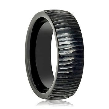 Aydins Tungsten Mens Ring Black Tree Bark Carved Textured Finish Tungsten Carbide Wedding Band