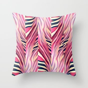 zebra pink Throw Pillow by violajohnsonriley