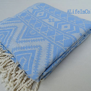 Turkish bright blue colour exclusive patterned soft cotton bath towel, beach towel, spa towel, travel towel.