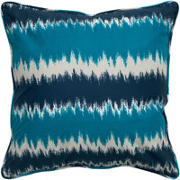 "Multi Colored Printed Blue Pillow Cover (18"" x 18"")"