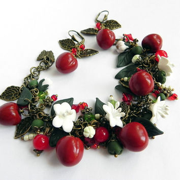 Cherry Berry Bracelet and earrings Polymer clay jewelry set Great gift Cherry bracelet handmade bijouterie Cherry earrings