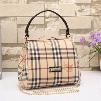 ONETOW Tagre? Burberry Women Classic Fashion War Horse Multicolor Tartan Stripe Metal Chain Single Shoulder Messenger Bag Handbag