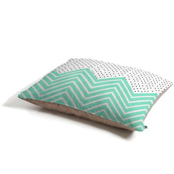 Allyson Johnson Minty Chevron And Dots Pet Bed