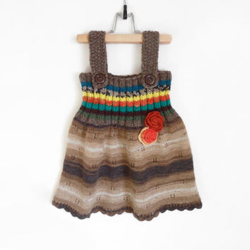 Knitted Girl Tunic Dress - Brown, 3 - 4 years