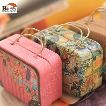 CUSHAWFAMILY Europe type vintage suitcase shape candy storage box wedding favor tin box cable organizer container household