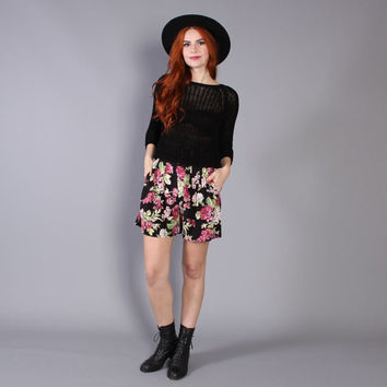 90s FLORAL Print SHORTS / High Waisted Black & Pink Mini, xs-s