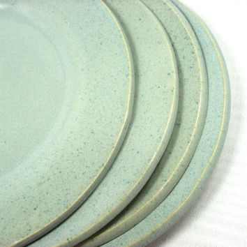 light blue dinner plates handmade from magic moon pottery